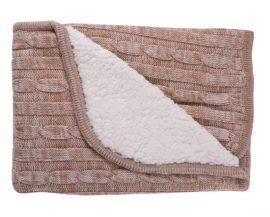 Kikkaboo takaró pamut kétoldalas kötött-sherpa 75x100cm melange bézs