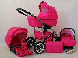 Qbaro 3in1 újszülött babakocsi - pink színben
