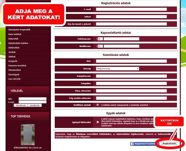 Regisztrációs adatok